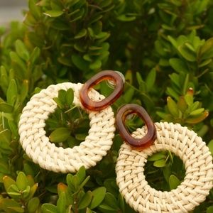 NEW Handmade Earrings   Rattan bamboo wood circle